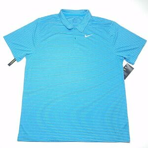 New-Nike-Golf-Dri-Fit-Blue-White-Striped-Polo-Shirt-Men-039-s-Size-Extra-Large-XL