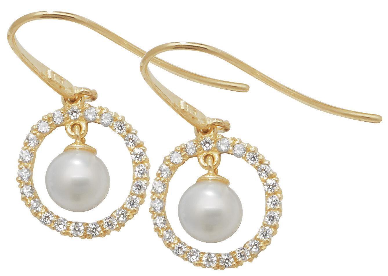 9 carat Yellow gold Ladies Hook Pearl Cubic Zirconia Drop Earrings FREE UK POST