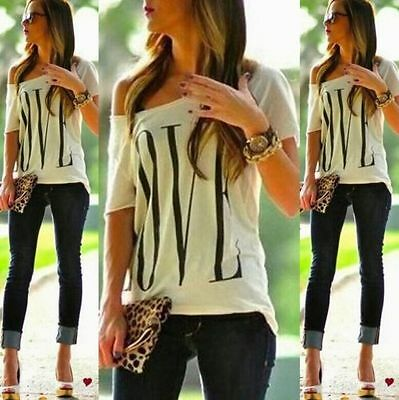 New Sexy Womens Short Sleeve Loose White T Shirt Summer Casual Lover Tops Blouse