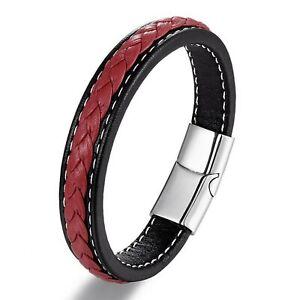 Bracelet homme femme en acier inoxydable et cuir noir et rouge 19/21/23 cm