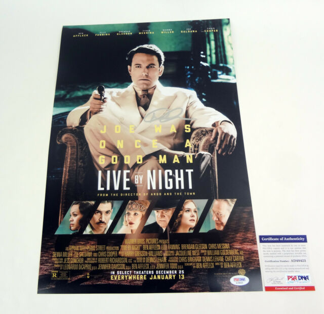 Dennis Lehane Author Signed Autograph Live By Night Movie Poster PSA/DNA COA #2