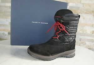 TOMMY-HILFIGER-Gr-36-Botines-zapatos-Impermeable-Black-NUEVO