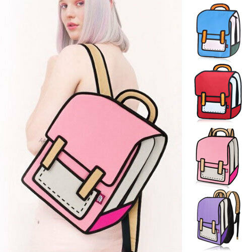 Women 3D Jump 2D Drawing From Cartoon Paper Comic Backpack Bag Satchel Bookbags