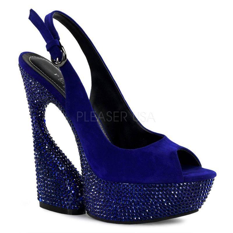 PLEASER SWAN-654 DM plataforma peep-toe azul diamantes de imitación elegante elegante elegante fiesta por la noche GoGo caliente  contador genuino