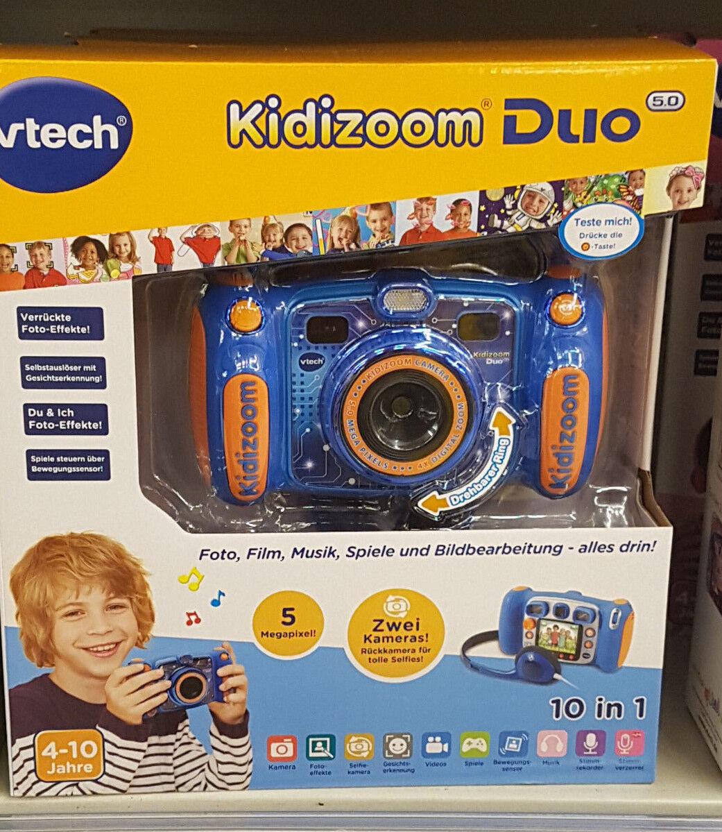 Vtech Kidizoom Duo Kamera Digitalkamera Digitalkamera Digitalkamera für Kinder NEU 10 in 1 Blau Orange c9967d