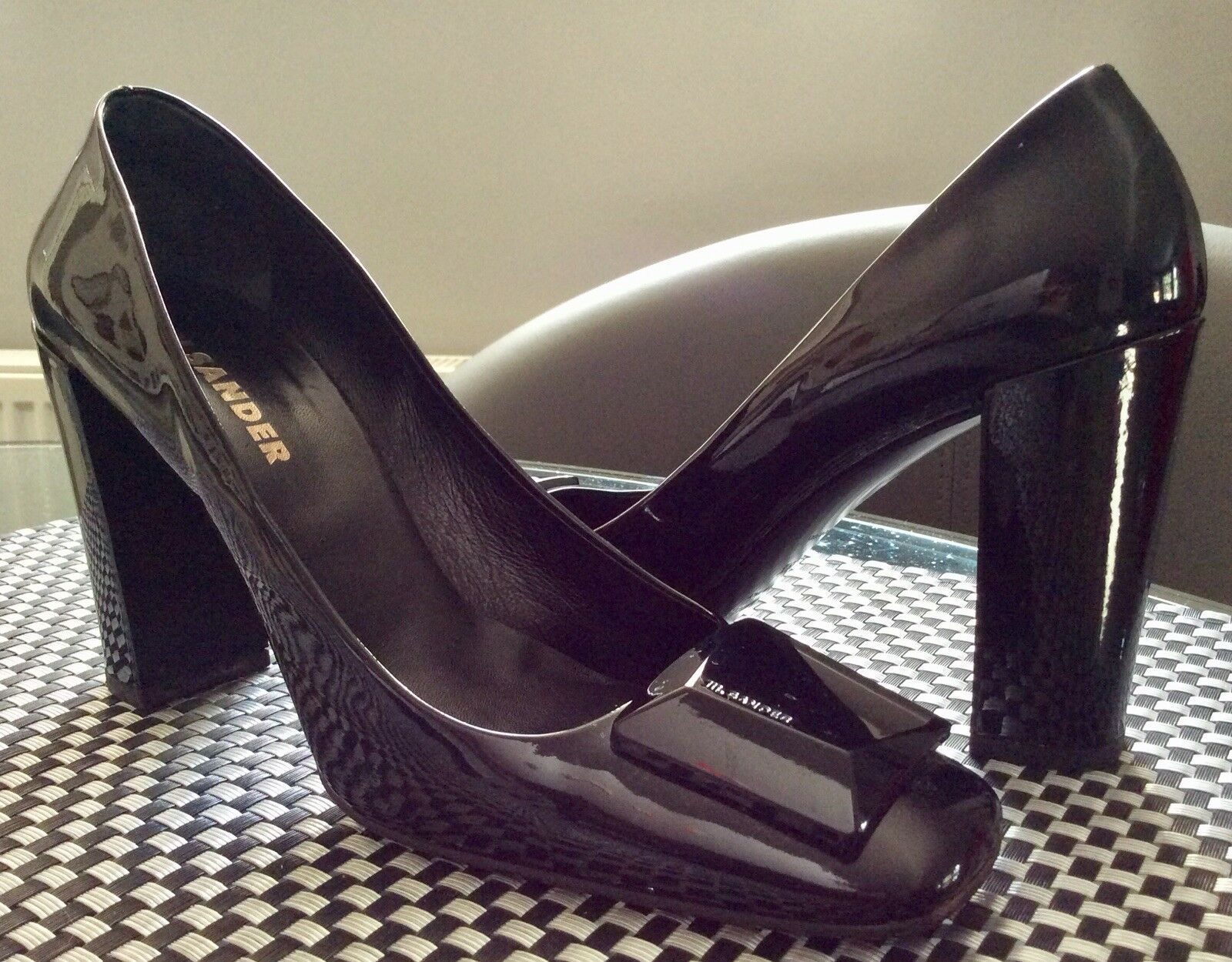 Man/Woman Jil Sander Black Patent Leather Heels Fine workmanship stable stable workmanship quality Modern mode d99648