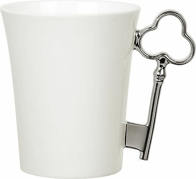 Gary Birks Bone China Key Handle Mug, Platinum