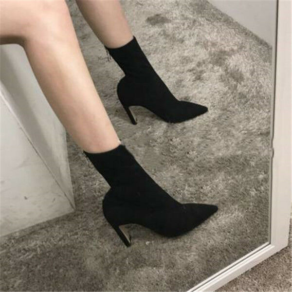 UK Womens Block High Heel Suede Back Zipper Ankle Boots Pointy Toe Pull On shoes