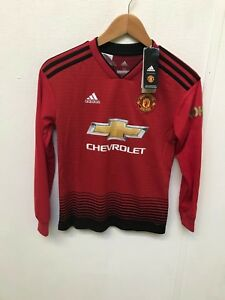 0ae4f0e84 Kids 11-12y Manchester United Home Shirt 2018-19 Long Sleeve Pogba 6 Kohler