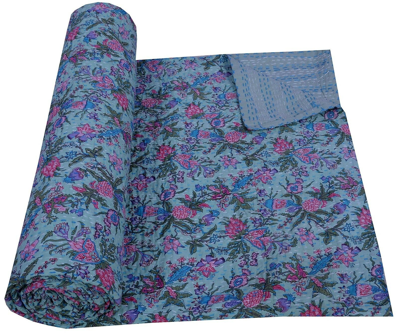 Queen Size Cotton Floral Paradise Green Bedspread Kantha Quilt Gudri Blanket