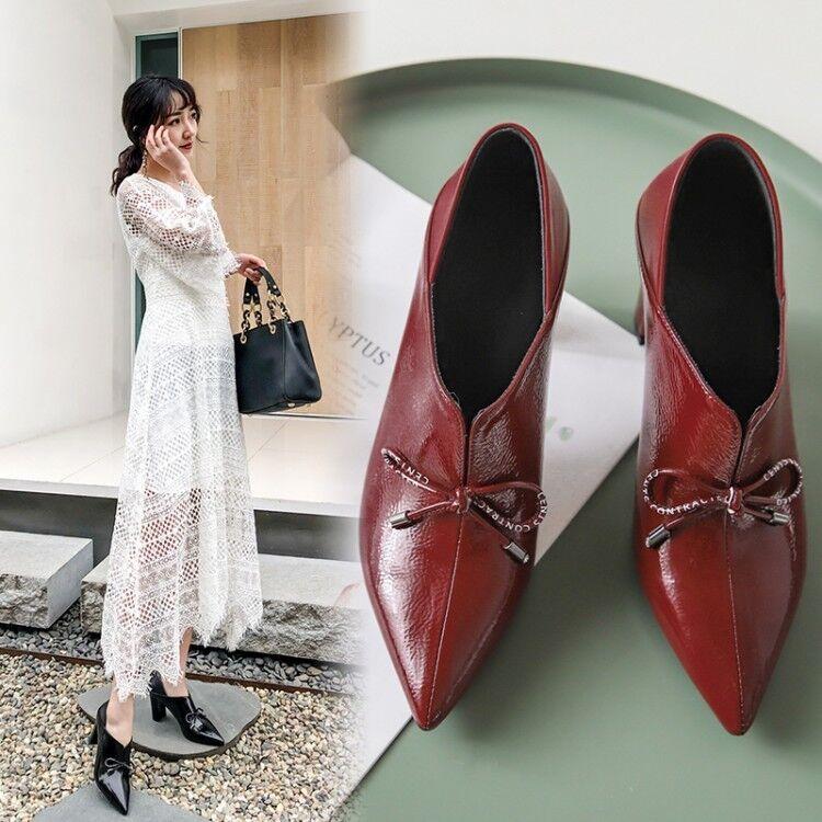 Block High heels pumps bow tie Bout Pointu Et Noir Vin Rouge Chaussures De Loisirs
