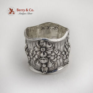 Double-Wall-Floral-Repousse-Napkin-Ring-Webster-Co-Sterling-Silver-1900