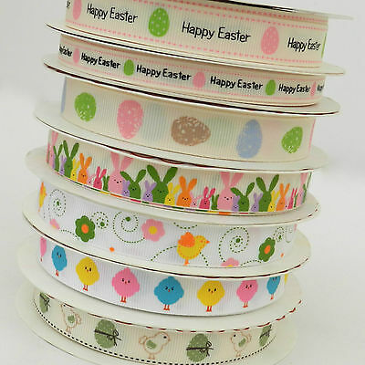 PER  METRE cute happy Easter ribbon bunny, chicks ,easter eggs, 16mm & 9mm