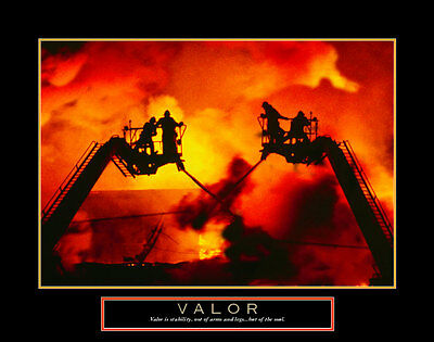 Valor: Firefighter Art Poster Print, 28x22
