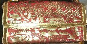 Exotic-Red-Leather-Tooled-Convertible-Clutch-or-Shoulder-Bag-Purse-Chico-039-s