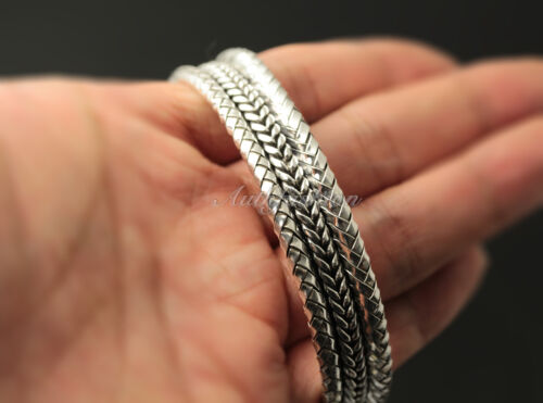 Mens Sterling Silver Bracelet Woven Braided Bangle Cuff Handcrafted Hip Hop b22