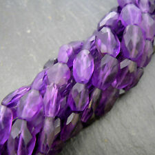 "African Amethyst Faceted Oval Beads 15"" Strand Semi Precious Gemstone"