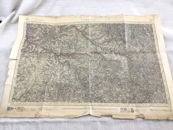 1885 Antik Französisch Landkarte Limoges Frankreich Haute Vienne Region 19th Duftendes Aroma
