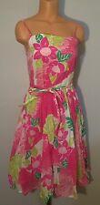 Lilly Pulitzer Ports Of Caw Sun Dress Birds Parrots Print Full Skirt Sz 4 Pink