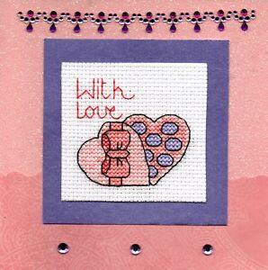Details About Valentine S Day Cross Stitch Cards Love Hearts Flowers Handmade Valentine