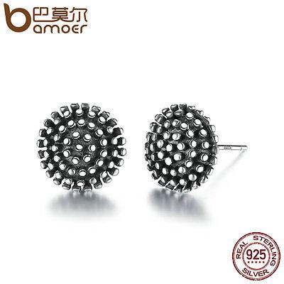 Bamoer 925 Sterling Silver Stud Earrings Loose ball Retro Fine Jewelry For Women