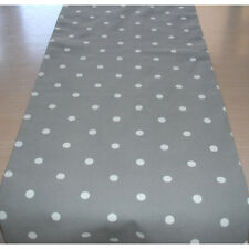 "NEW Table Runner 5ft Silver Grey and White Polka Dots 60"" Shabby Chic 150cm"