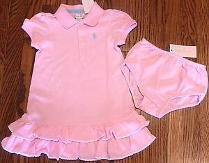 4cadde86 Details about POLO RALPH LAUREN ORIGINAL BABY GIRLS 2Pc BRAND NEW PINK  DRESS SET Size 9M, NWT
