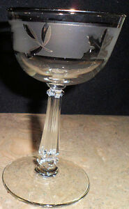 Silver-Sharpie-Foil-Leaf-Libbey-Glass-Water-Stemmed-Cordial-Wine-Goblet-Frosted