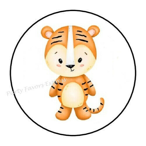 """30 CUTE TIGER ENVELOPE SEALS LABELS STICKERS PARTY FAVORS 1.5/"""" ROUND"""