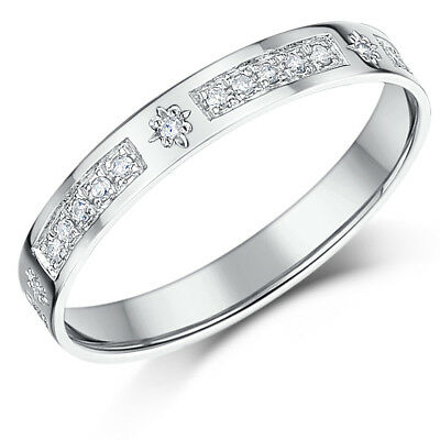 9ct White Gold Diamond Ring Half Eternity Ring 3mm Star 0.16ct Diamond Ring