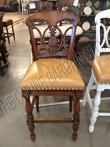 Frontgate Pineapple Wood Barstool Counter Chair Leather