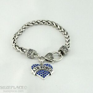 NEW-AIR-FORCE-BLUE-CRYSTAL-HEART-CHARM-SILVER-BRACELET-HEART-CLASP-MILITARY