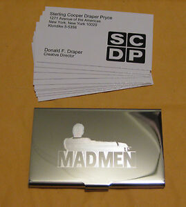 Don Draper From Mad Men Silver Business Card Case 10 Cards Very