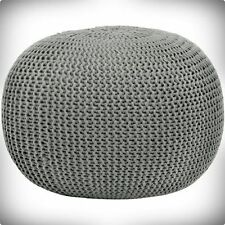ROUND KNIT POUF OTTOMAN POUFFE FOOTSTOOL FOOT STOOL POOF FLOOR COVER SEAT DECOR