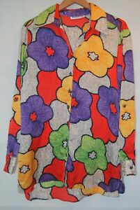 Vtg-Mischa-Womens-Neon-Floral-LS-Button-Shirt-M-Orange-Purple-Silky-90s-Hippie