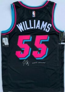 detailed pictures 4baa2 5f467 JASON WILLIAMS SIGNED MIAMI HEAT BLACK VICE JERSEY WHITE ...