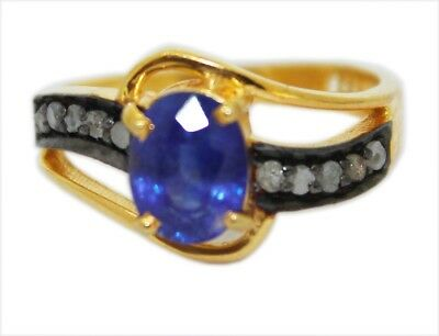 925 Sterling Silver Natural 4mm Blue Rose Cut Diamond Ring