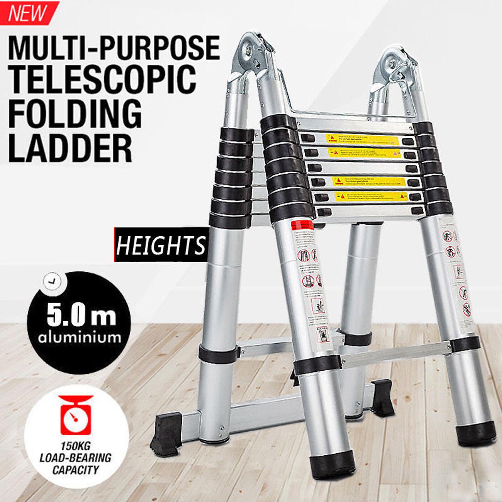 Folding Aluminum Step Ladder Decorators Hop up Extendable Telescopic Collapsible