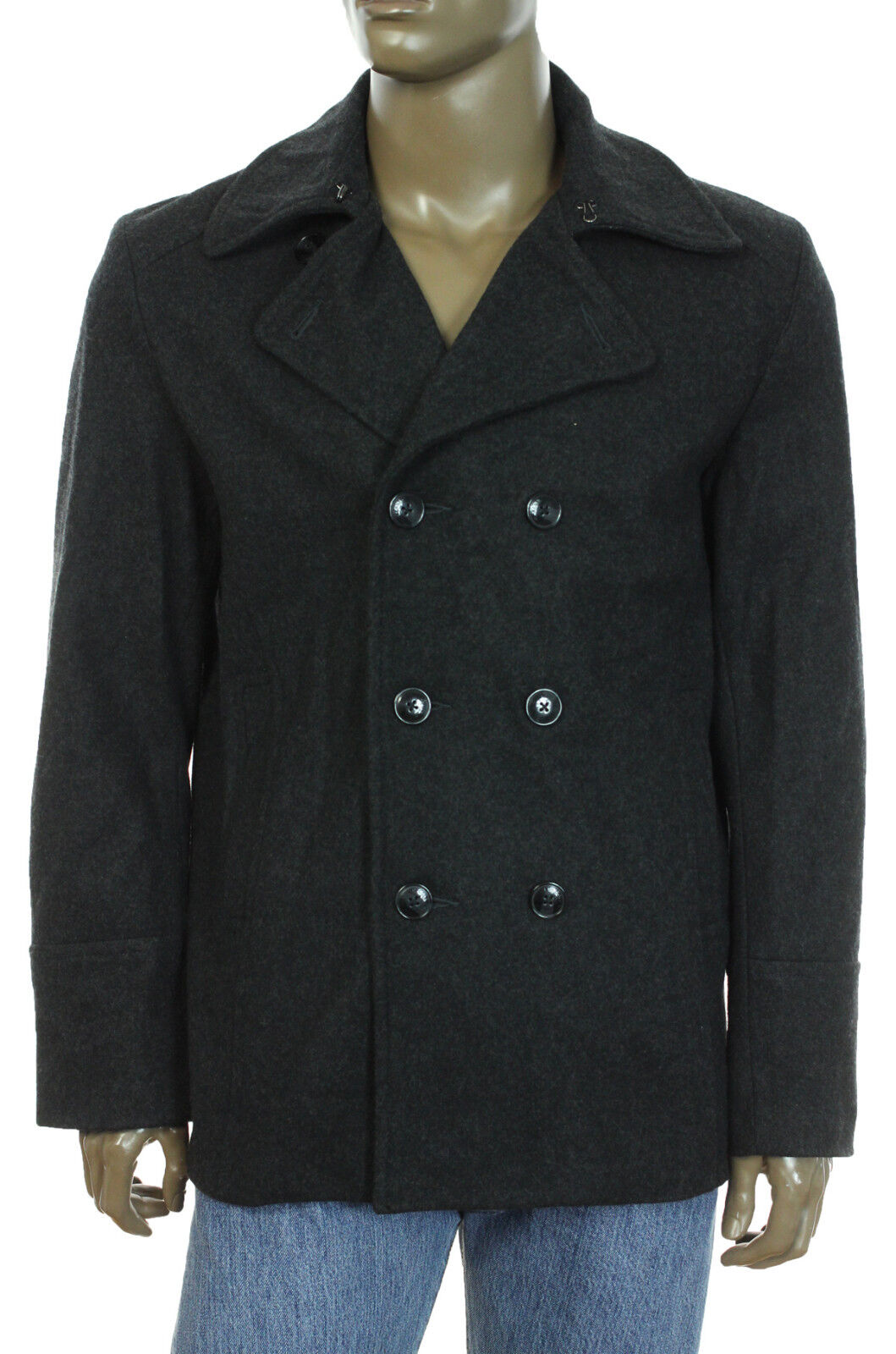 NEW KENNETH COLE REACTION DOUBLE BREASTED CHARCOAL WOOL BLEND PEA COAT XL