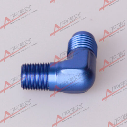 """12 To 1//2/"""" NPT 90 Degree Male Aluminum Fitting Adapter Blue AN12 AN"""