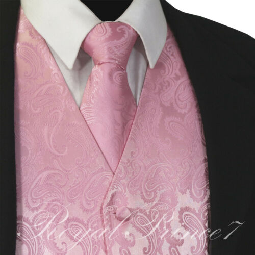 New Pink 20NN Paisley Tuxedo Suit Dress Vest Waistcoat /& Neck tie wedding Prom