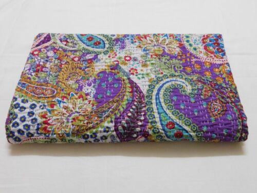 Indian Handmade Paisley Kantha Quilt Block Print Bedspread Purple Twin Size