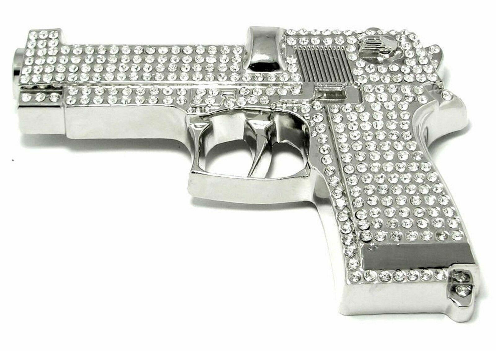 Pistole Gürtelschnalle Voll Von Strass Silber Metal Limited Produktion Bling Out