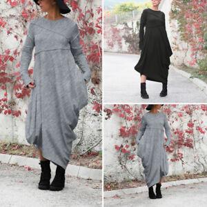 Hiver-et-Automne-Femme-Robe-Dresse-Loisir-Manche-Longue-Asymmetric-Ample-Plus