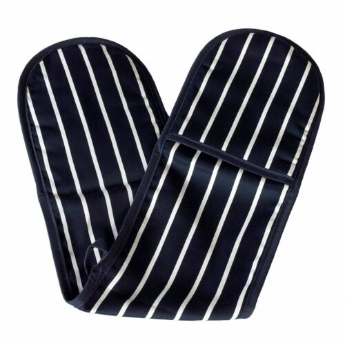 Boucher Rayures Four Double Gant 100/% Coton Isolé Accueil Cuisine Bleu Marine /& Blanc
