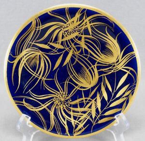 Vintage-Carl-Schumann-Cobalt-Blue-amp-Gold-Leaf-Dessert-Plate