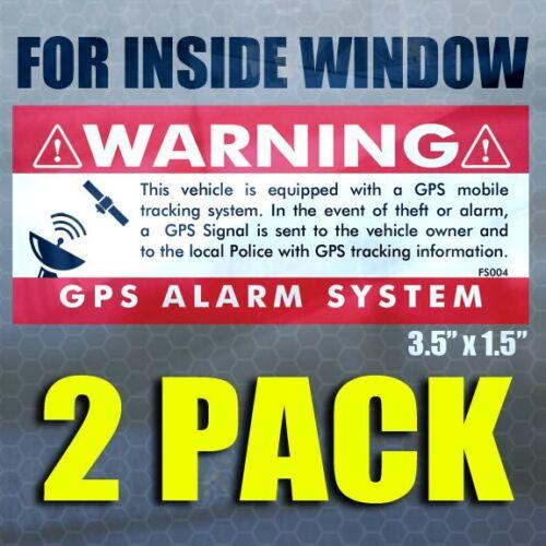 Anti Theft STICKERS Security Alarm Decal GPS 2 pk INSIDE WINDOW 3.5x1.5 RED