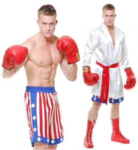 The Boxer Fighter USA Robe Shorts Fancy Dress Up Halloween Deluxe Adult Costume