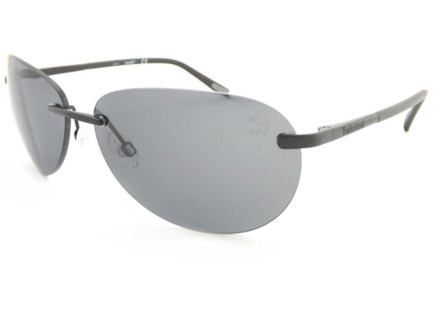 9ef921f023490 TIMBERLAND polarized rimless Sunglasses Matte Black  Dark Grey Lens TB9117  02D
