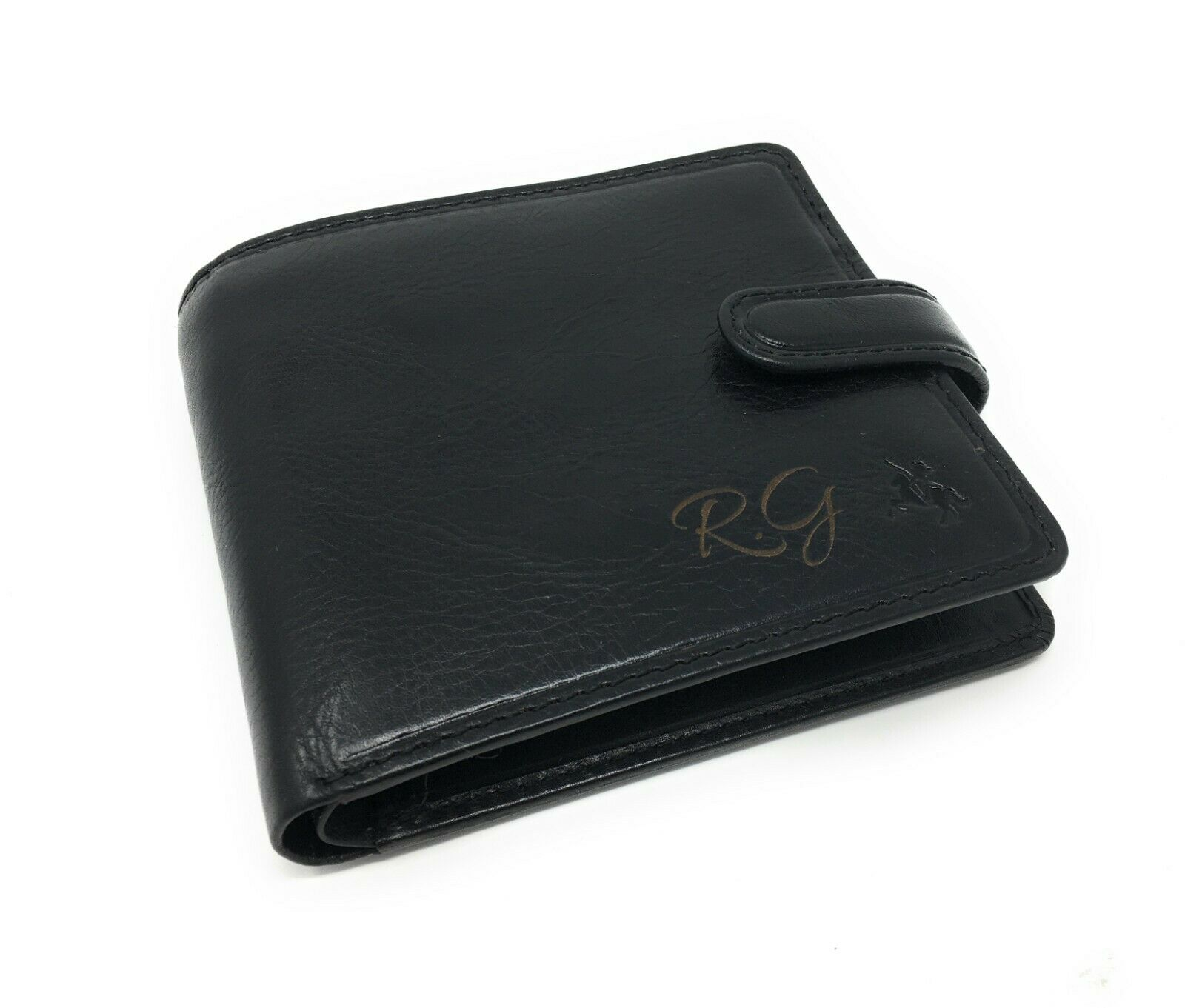 Personalised RFID Premium Black Leather Wallet Free Engraving Any Name/Initials